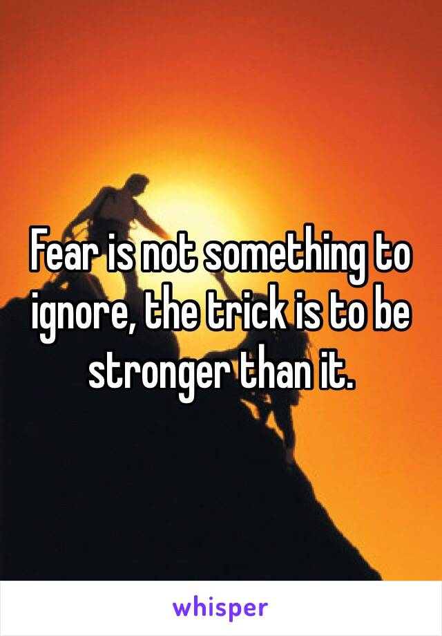 Fear is not something to ignore, the trick is to be stronger than it.