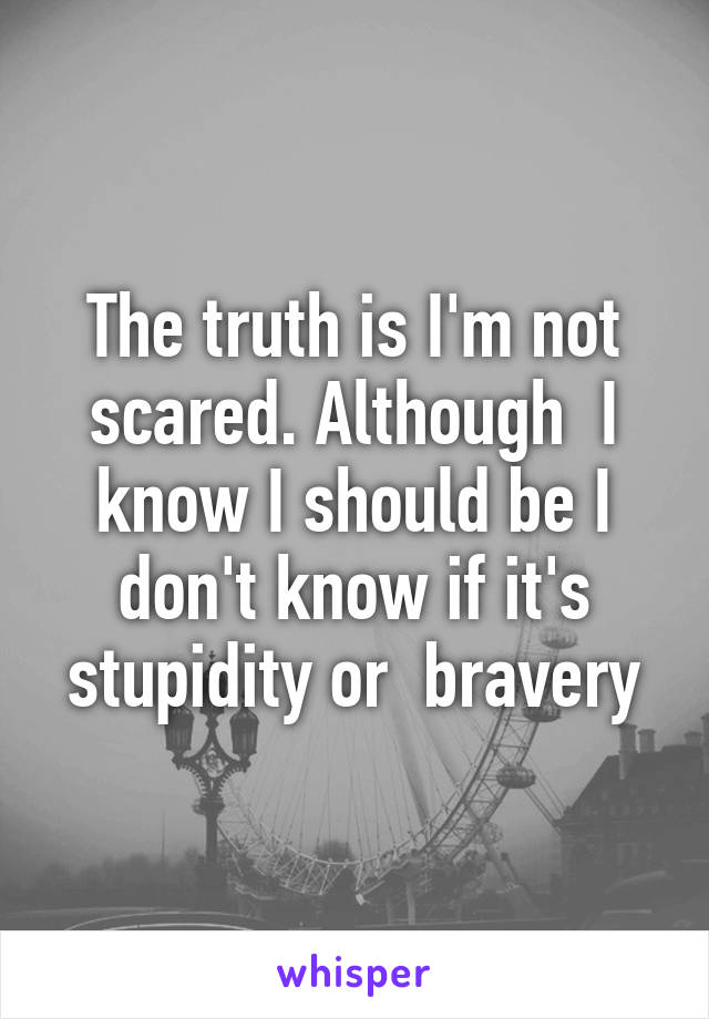 The truth is I'm not scared. Although  I know I should be I don't know if it's stupidity or  bravery