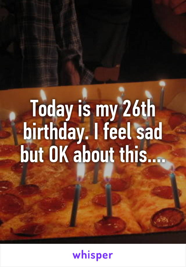Today is my 26th birthday. I feel sad but OK about this....