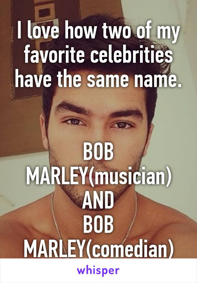 I love how two of my favorite celebrities have the same name.   BOB MARLEY(musician) AND BOB MARLEY(comedian)