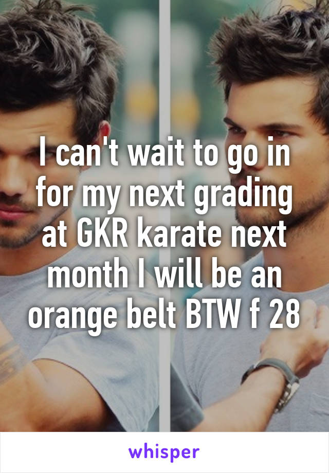 I can't wait to go in for my next grading at GKR karate next month I will be an orange belt BTW f 28