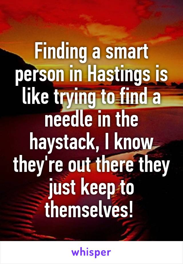 Finding a smart person in Hastings is like trying to find a needle in the haystack, I know they're out there they just keep to themselves!