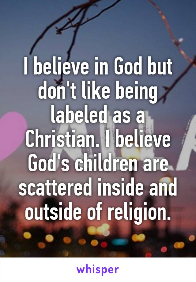 I believe in God but don't like being labeled as a Christian. I believe God's children are scattered inside and outside of religion.