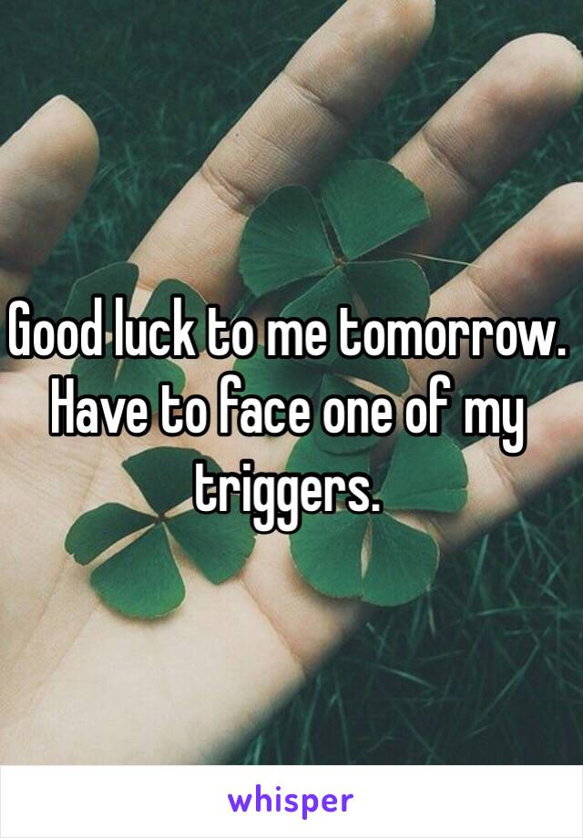 Good luck to me tomorrow. Have to face one of my triggers.