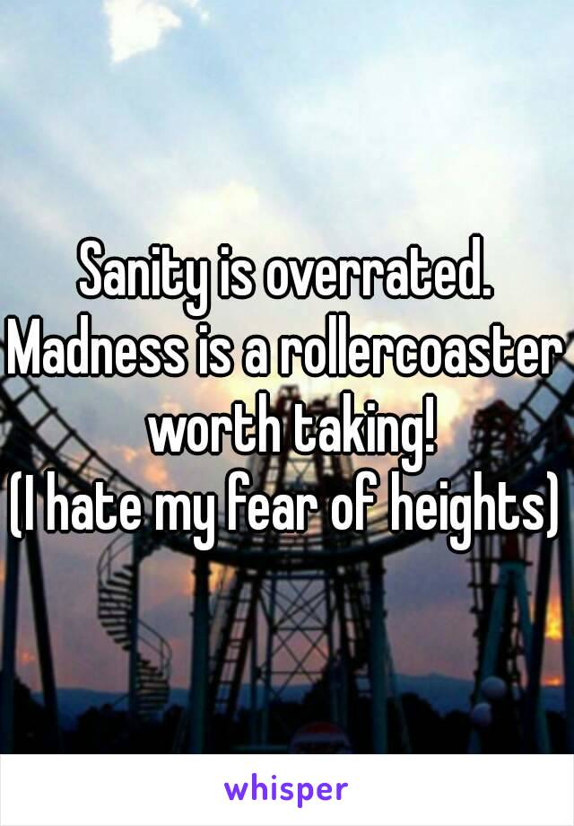 Sanity is overrated. Madness is a rollercoaster worth taking! (I hate my fear of heights)