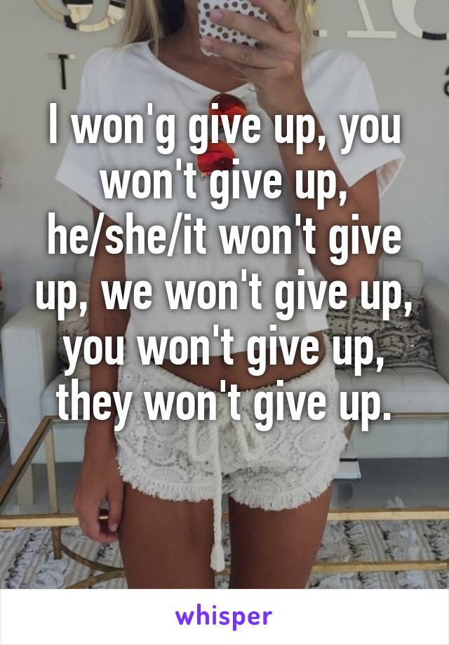 I won'g give up, you won't give up, he/she/it won't give up, we won't give up, you won't give up, they won't give up.