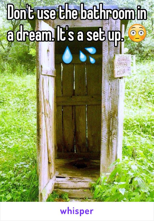 Don't use the bathroom in a dream. It's a set up. 😳💧💦