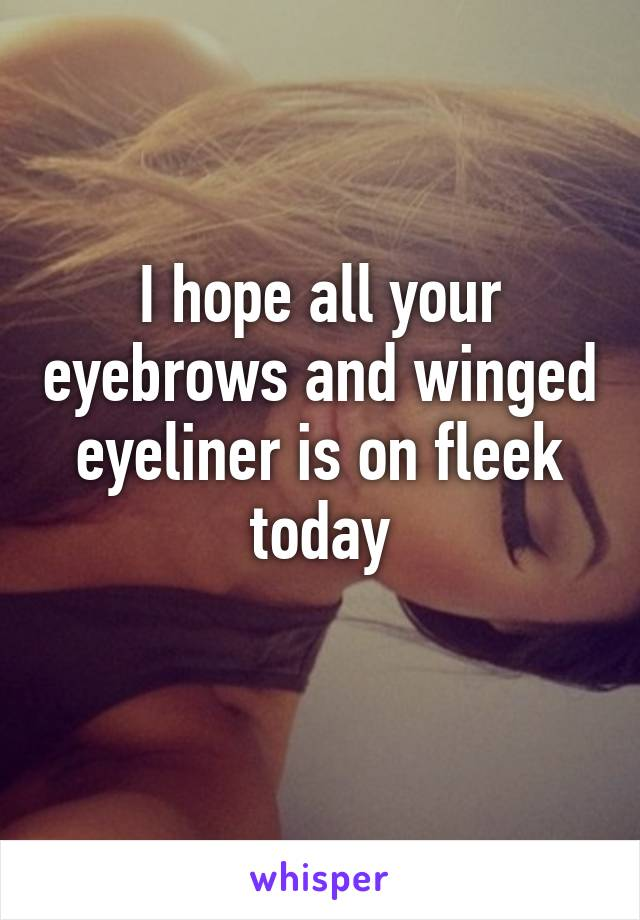 I hope all your eyebrows and winged eyeliner is on fleek today