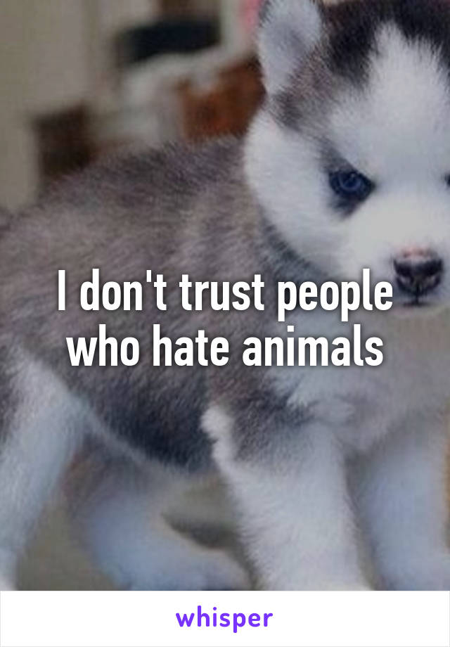 I don't trust people who hate animals
