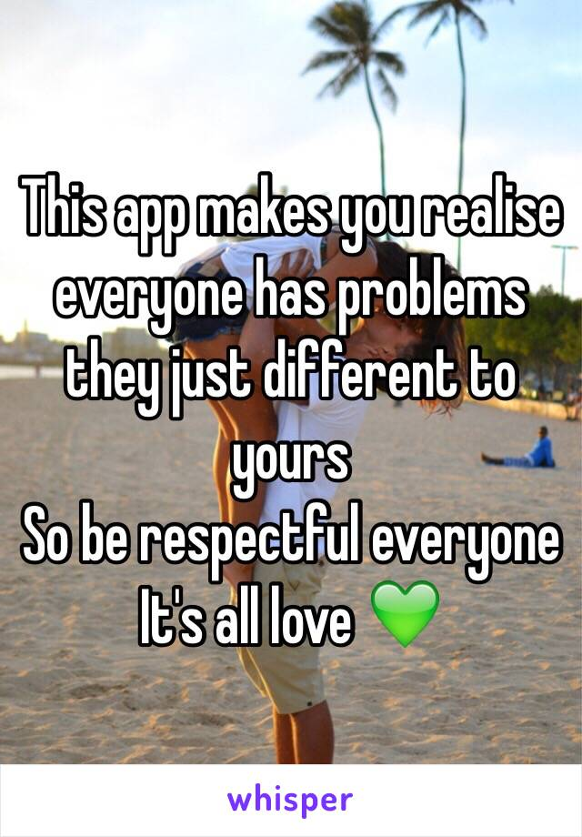 This app makes you realise everyone has problems they just different to yours  So be respectful everyone  It's all love 💚