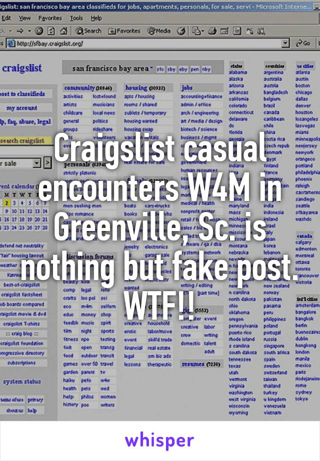 Attractive Craigslist Casual Encounters W4M In Greenville, Sc. Is Nothing But Fake  Post. WTF!! Throughout Craigslist Greenville