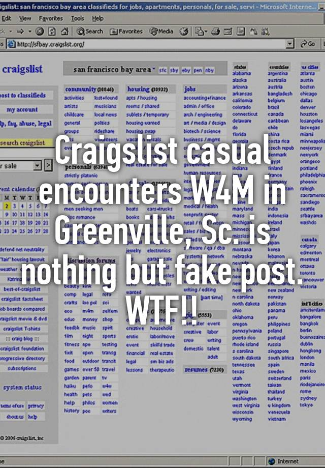 Craigslist Casual Encounters W4m In Greenville Sc Is Nothing But