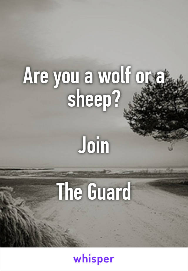 Are you a wolf or a sheep?  Join  The Guard