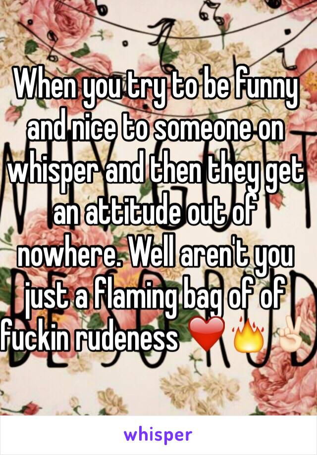 When you try to be funny and nice to someone on whisper and then they get an attitude out of nowhere. Well aren't you just a flaming bag of of fuckin rudeness ❤️🔥✌🏻️