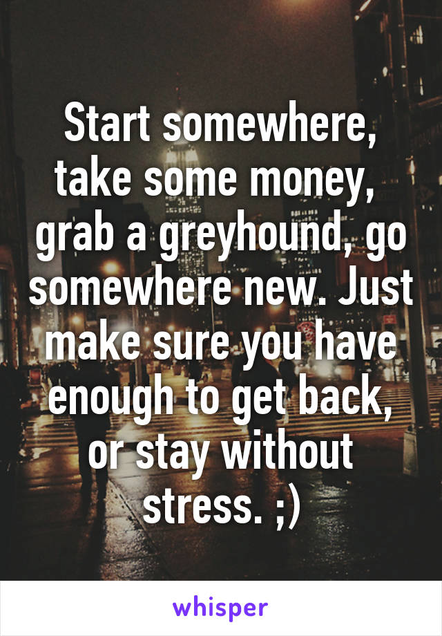 Start somewhere, take some money,  grab a greyhound, go somewhere new. Just make sure you have enough to get back, or stay without stress. ;)