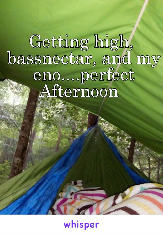 Getting high, bassnectar, and my eno....perfect Afternoon