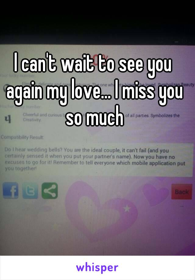 I can't wait to see you again my love... I miss you so much