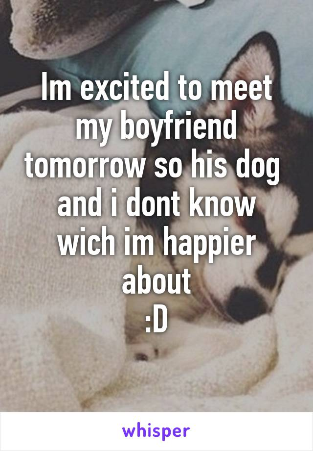 Im excited to meet my boyfriend tomorrow so his dog  and i dont know wich im happier about :D