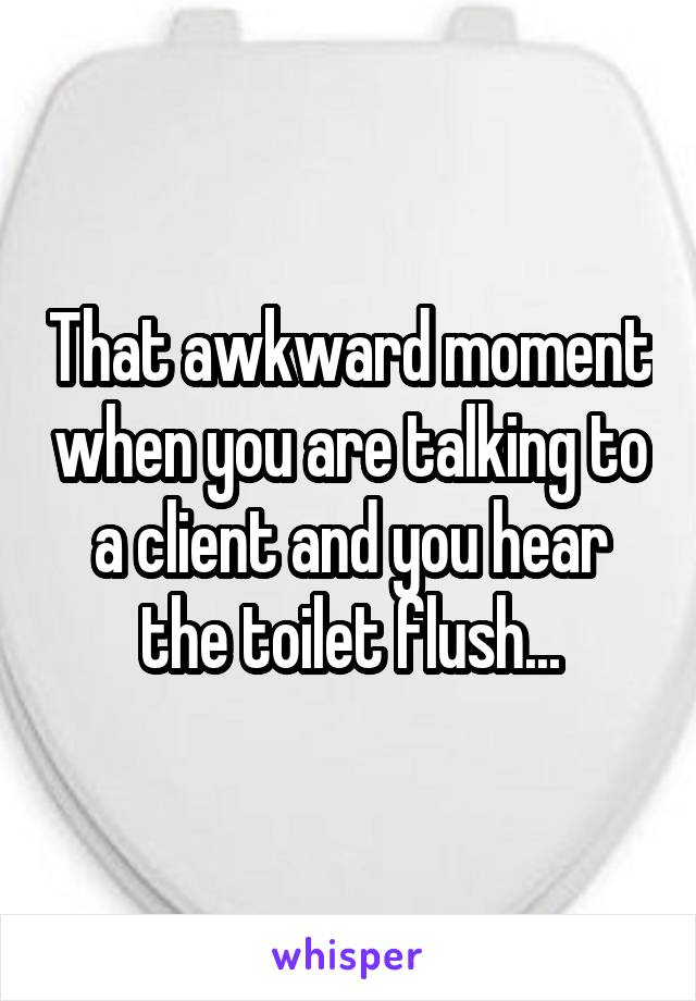 That awkward moment when you are talking to a client and you hear the toilet flush...