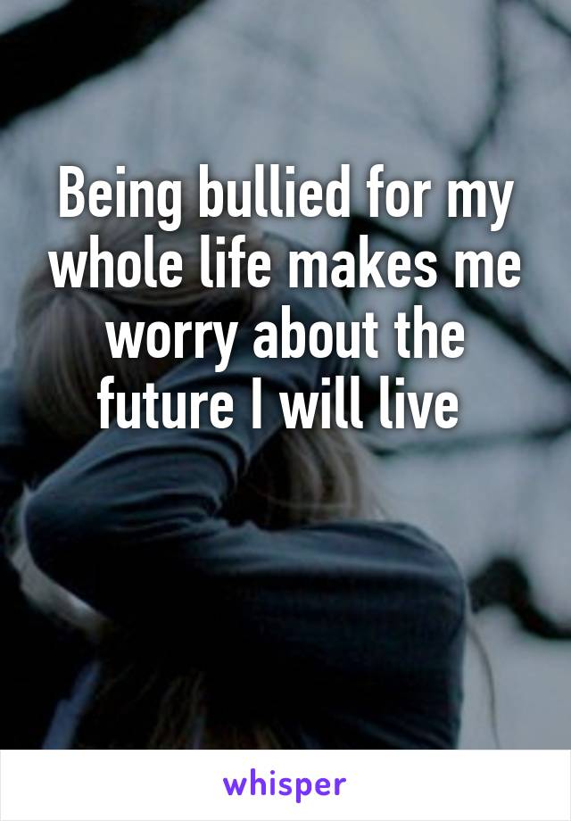 Being bullied for my whole life makes me worry about the future I will live
