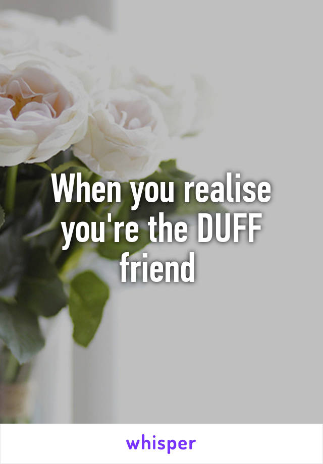 When you realise you're the DUFF friend