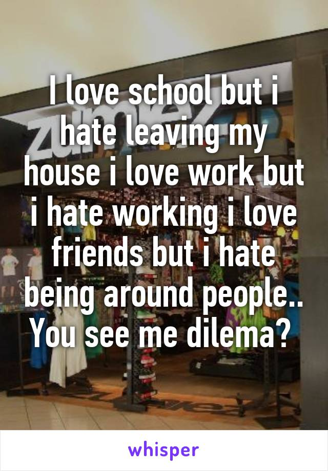 I love school but i hate leaving my house i love work but i hate working i love friends but i hate being around people.. You see me dilema?