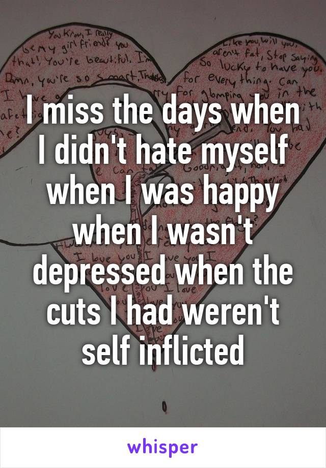I miss the days when I didn't hate myself when I was happy when I wasn't depressed when the cuts I had weren't self inflicted