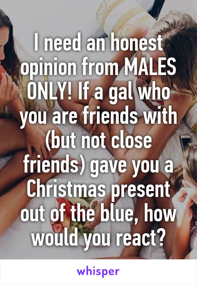 I need an honest opinion from MALES ONLY! If a gal who you are friends with (but not close friends) gave you a Christmas present out of the blue, how would you react?