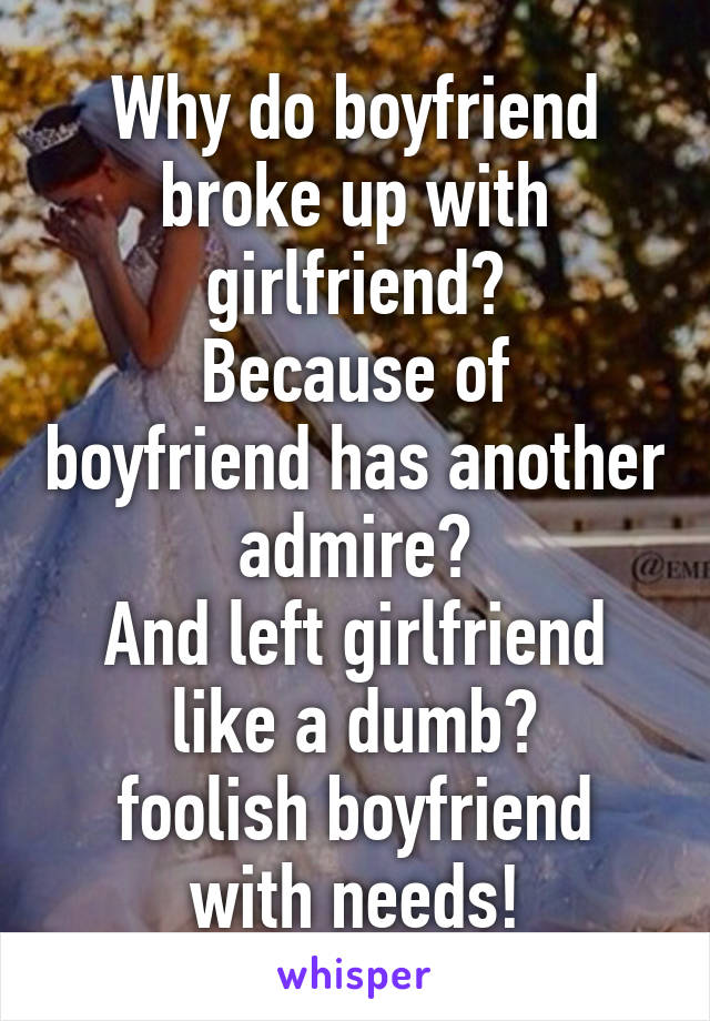 Why do boyfriend broke up with girlfriend? Because of boyfriend has another admire? And left girlfriend like a dumb? foolish boyfriend with needs!