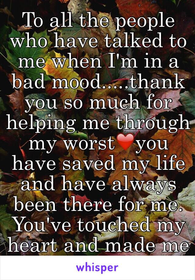 To all the people who have talked to me when I'm in a bad mood.....thank you so much for helping me through my worst❤️you have saved my life and have always been there for me. You've touched my heart and made me felt better