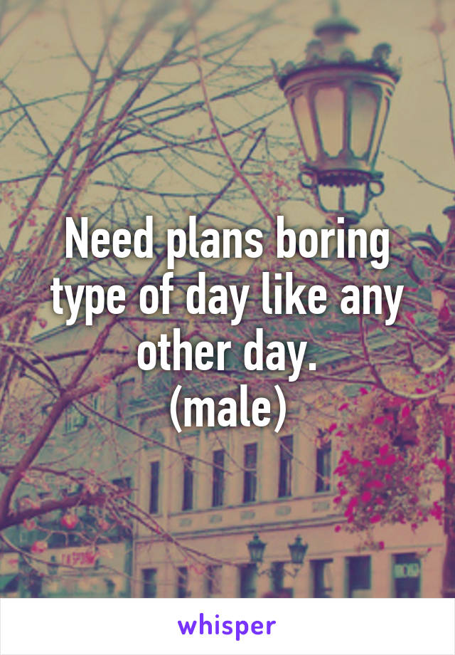 Need plans boring type of day like any other day. (male)