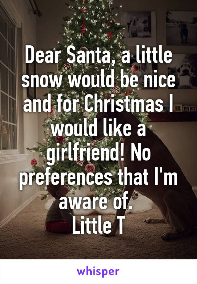 Dear Santa, a little snow would be nice and for Christmas I would like a girlfriend! No preferences that I'm aware of.  Little T