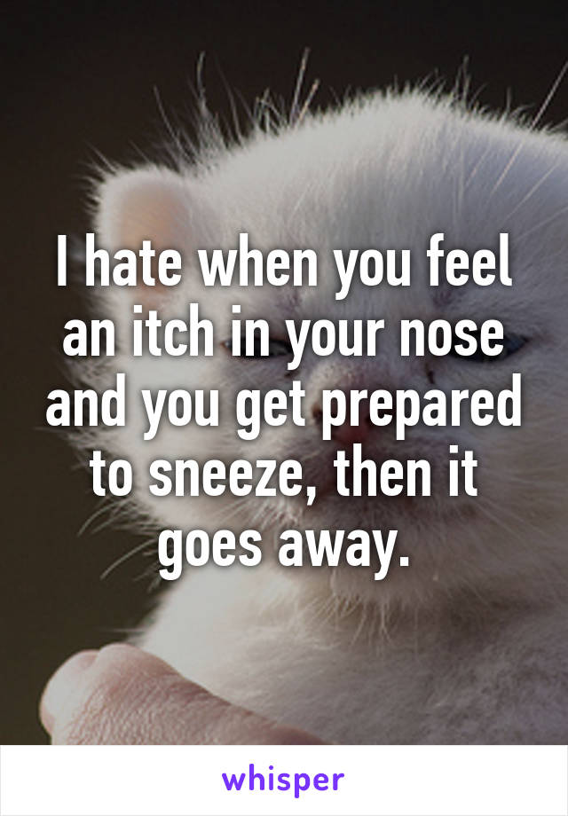 I hate when you feel an itch in your nose and you get prepared to sneeze, then it goes away.