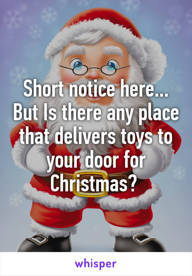 Short notice here... But Is there any place that delivers toys to your door for Christmas?