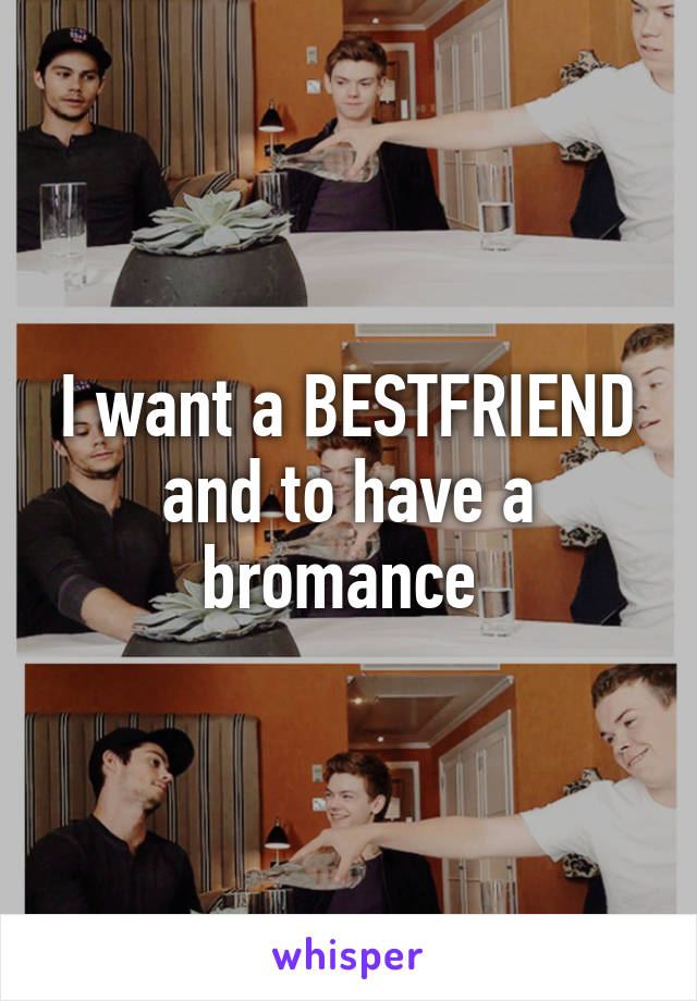 I want a BESTFRIEND and to have a bromance
