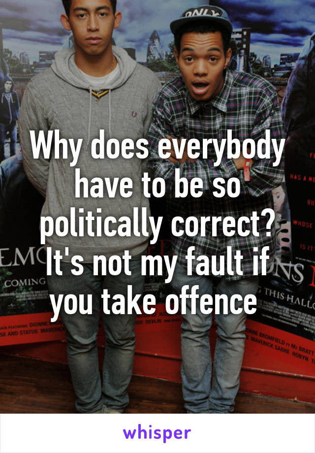 Why does everybody have to be so politically correct? It's not my fault if you take offence