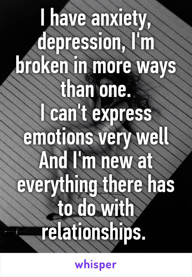 I have anxiety, depression, I'm broken in more ways than one. I can't express emotions very well And I'm new at everything there has to do with relationships.