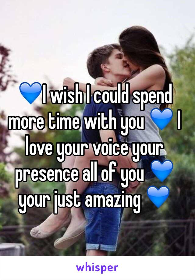 💙I wish I could spend more time with you 💙 I love your voice your presence all of you 💙 your just amazing 💙