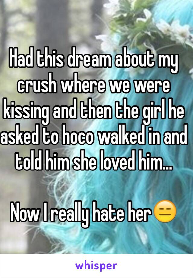 Had this dream about my crush where we were kissing and then the girl he asked to hoco walked in and told him she loved him...   Now I really hate her😑