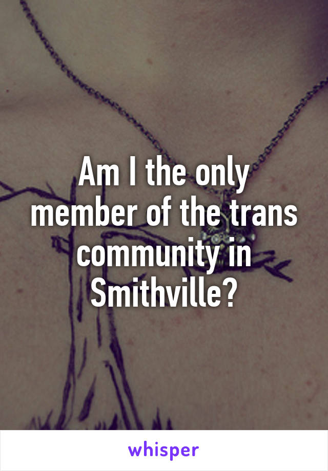 Am I the only member of the trans community in Smithville?