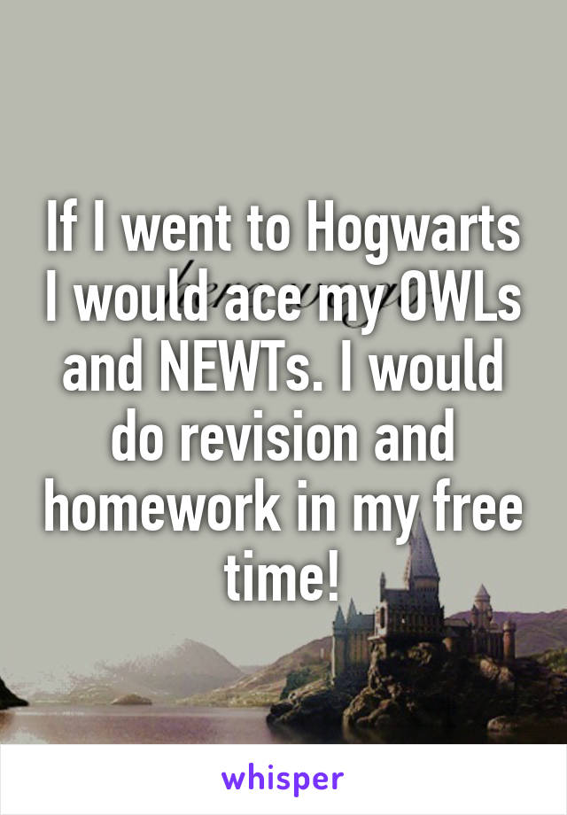 If I went to Hogwarts I would ace my OWLs and NEWTs. I would do revision and homework in my free time!