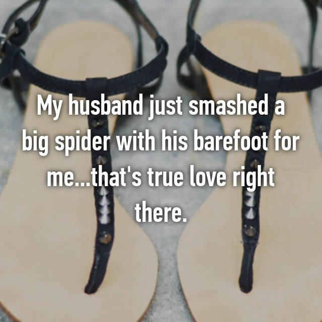 My husband just smashed a big spider with his barefoot for me...that's true love right there.