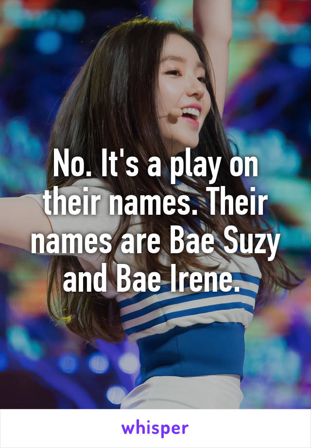 No  It's a play on their names  Their names are Bae Suzy and