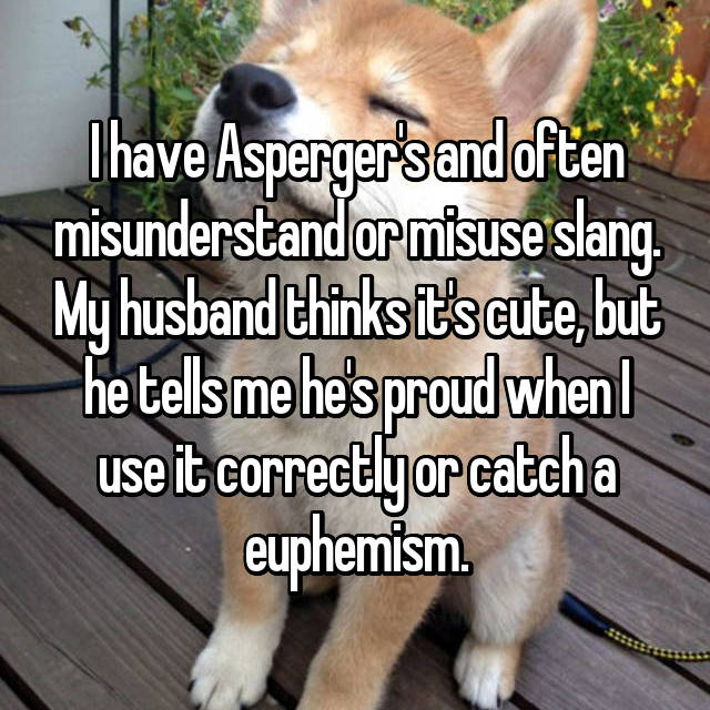 I have Asperger's and often misunderstand or misuse slang. My husband thinks it's cute, but he tells me he's proud when I use it correctly or catch a euphemism.