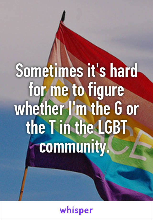 Sometimes it's hard for me to figure whether I'm the G or the T in the LGBT community.