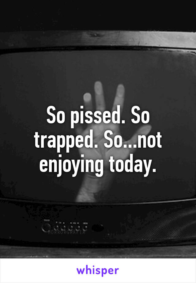 So pissed. So trapped. So...not enjoying today.