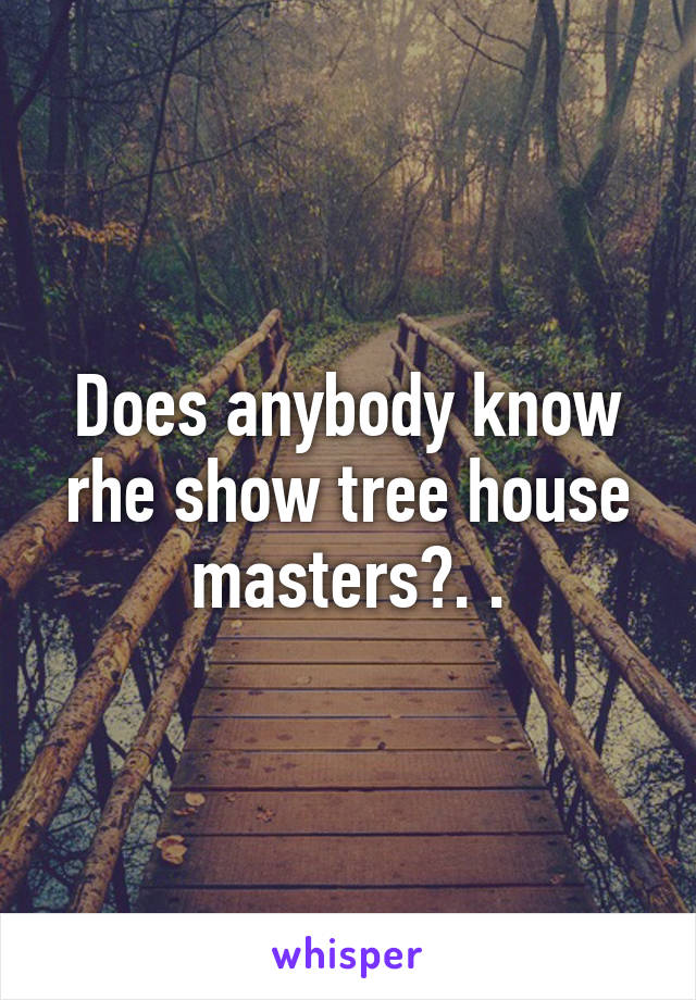 Does anybody know rhe show tree house masters?. .