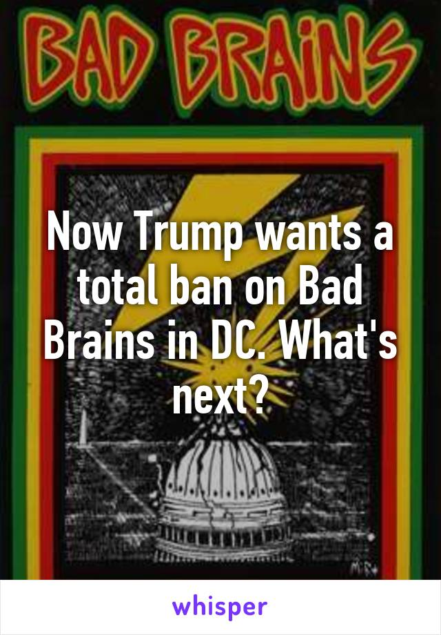 Now Trump wants a total ban on Bad Brains in DC. What's next?