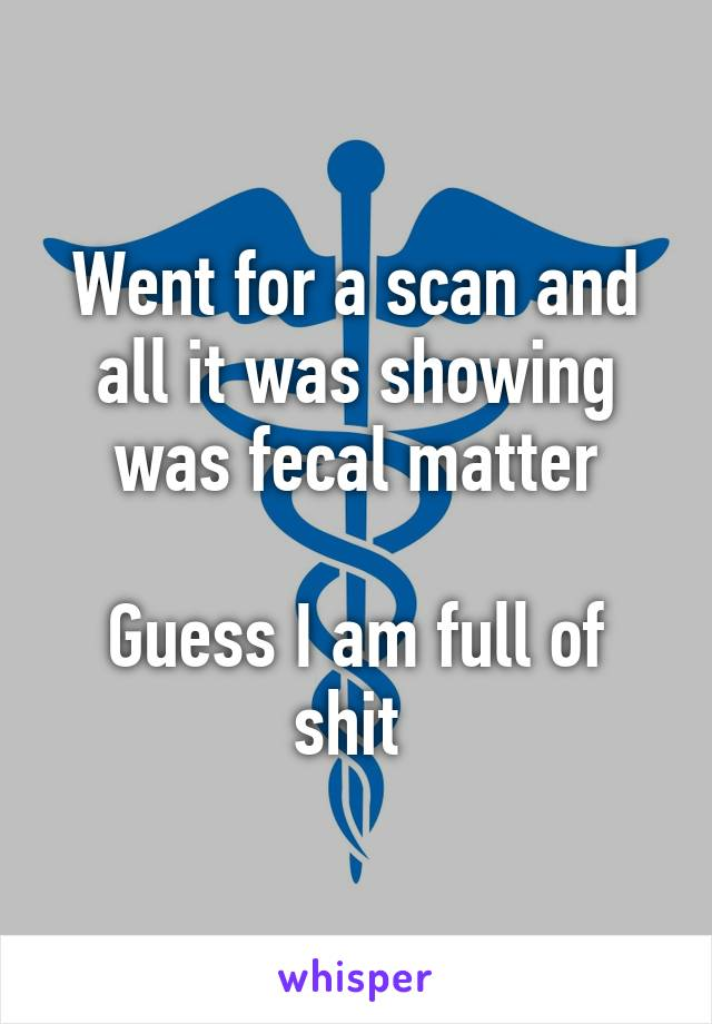 Went for a scan and all it was showing was fecal matter  Guess I am full of shit