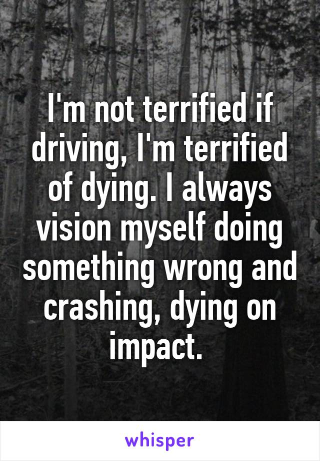 I'm not terrified if driving, I'm terrified of dying. I always vision myself doing something wrong and crashing, dying on impact.